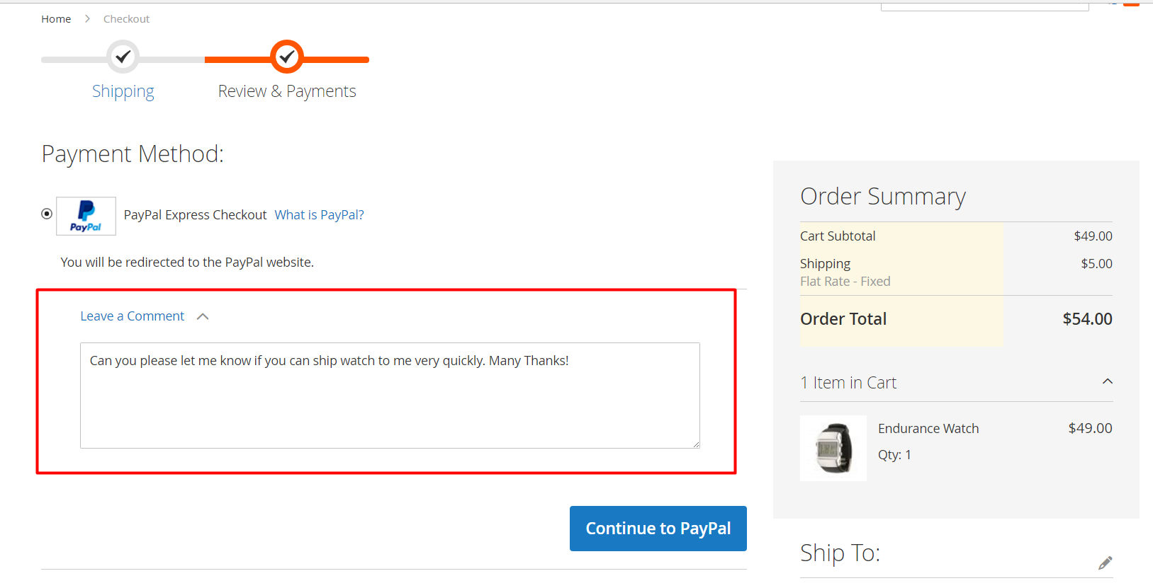 Order comment on the payment step