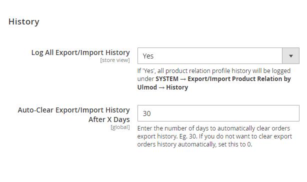 History settings