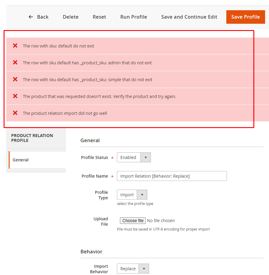 Import validation errors