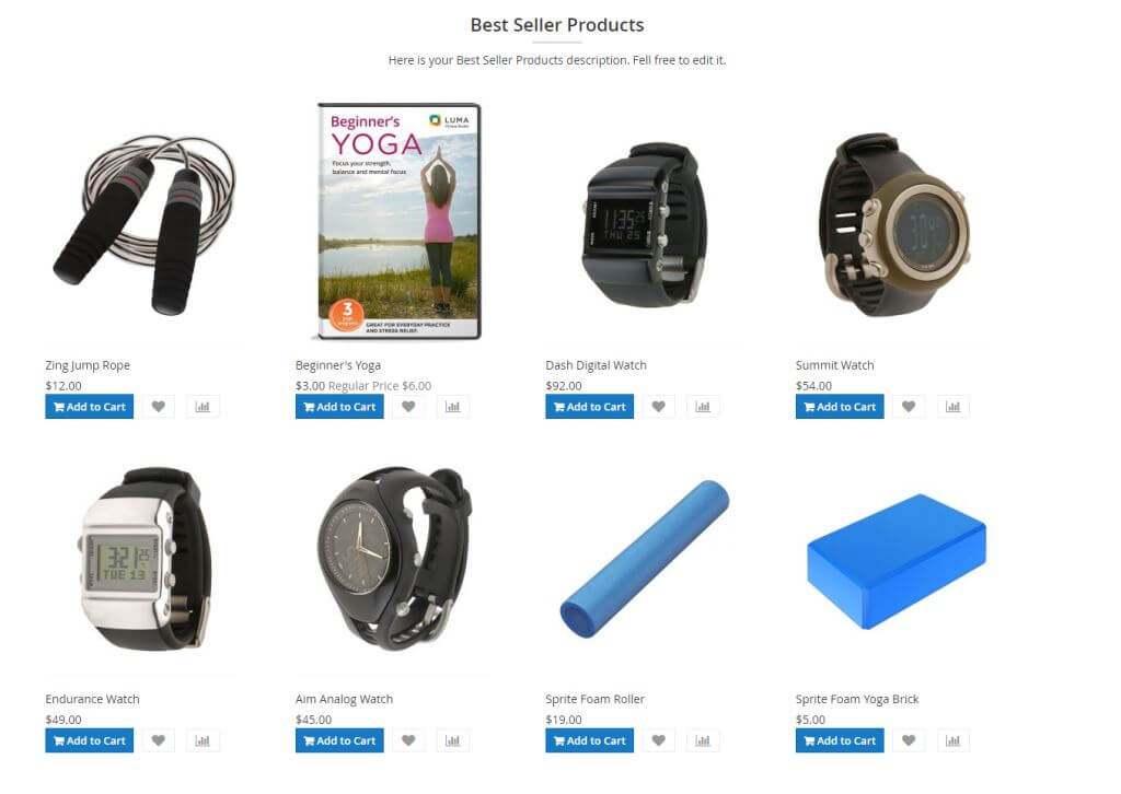 Best seller products using grid template