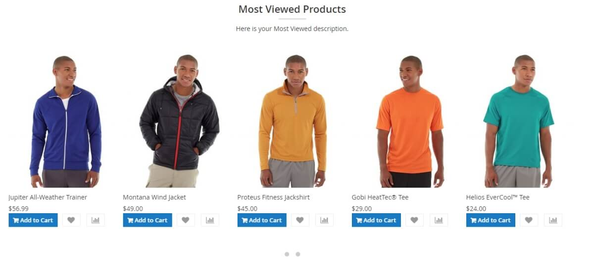 Most viewed products using owl slider template