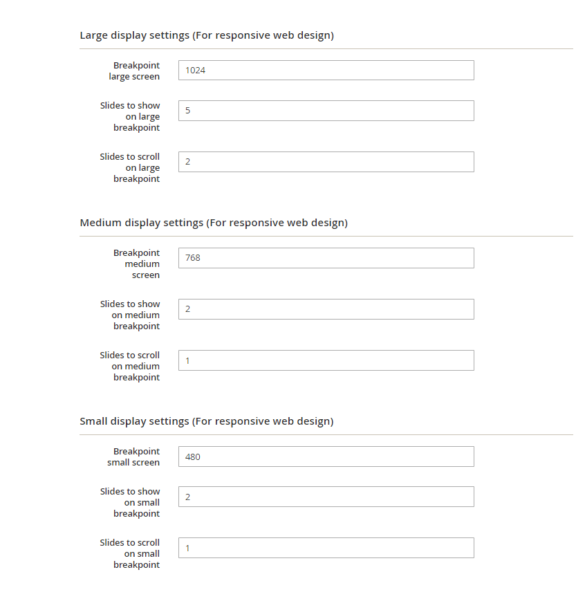 Responsive design settings