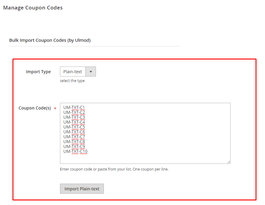 Import coupons in bulk using a plain-text
