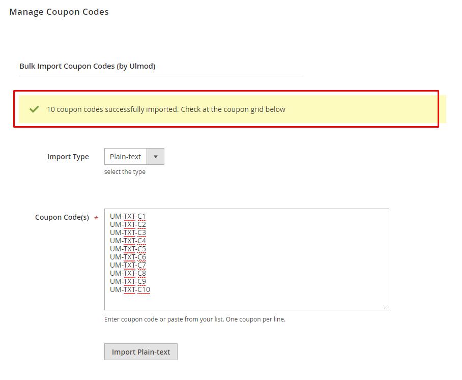 Success plain-text import message