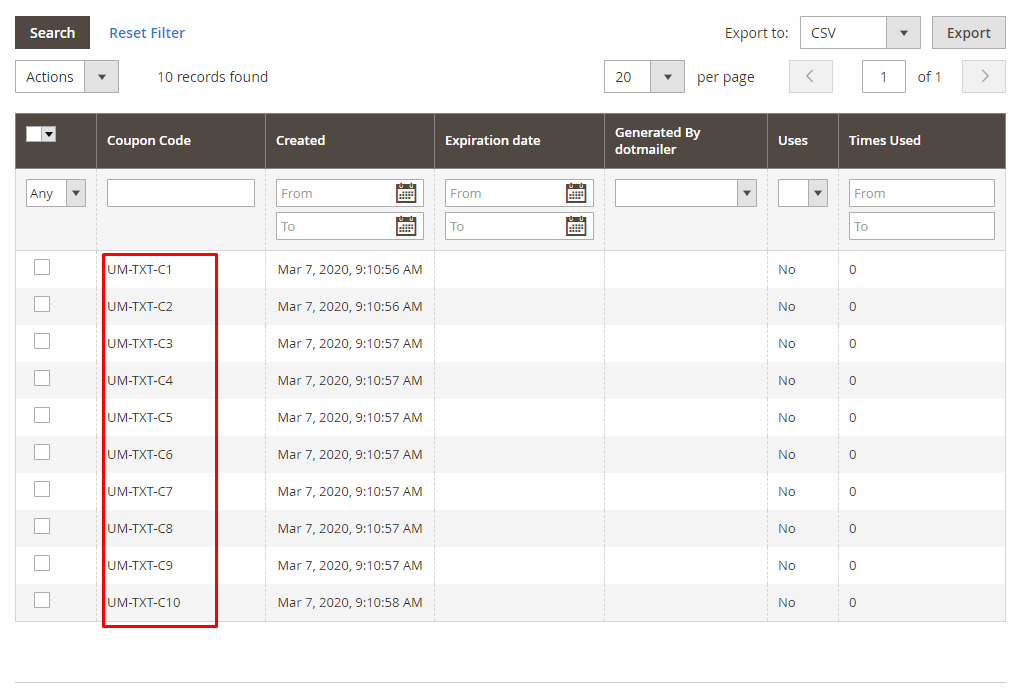 Imported discount codes appear at grid