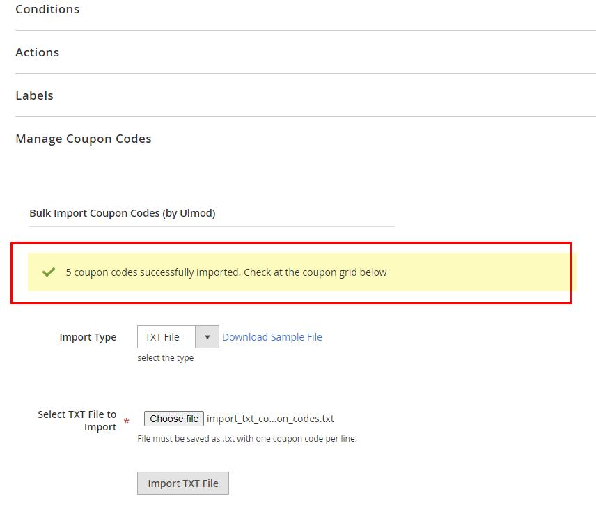 Success TXT import message