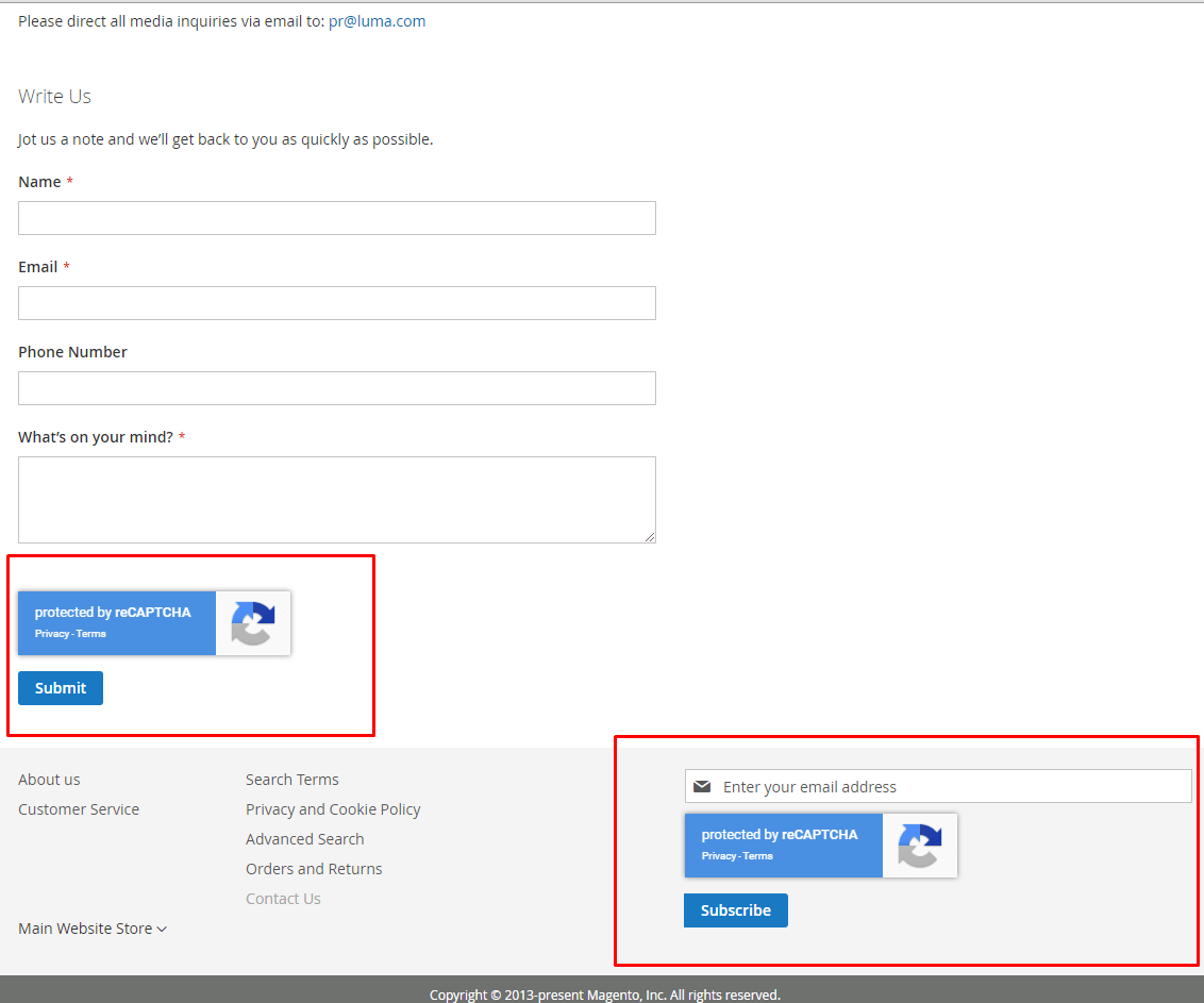 Invisible reCAPTCHA v2 in newsletter and contact forms