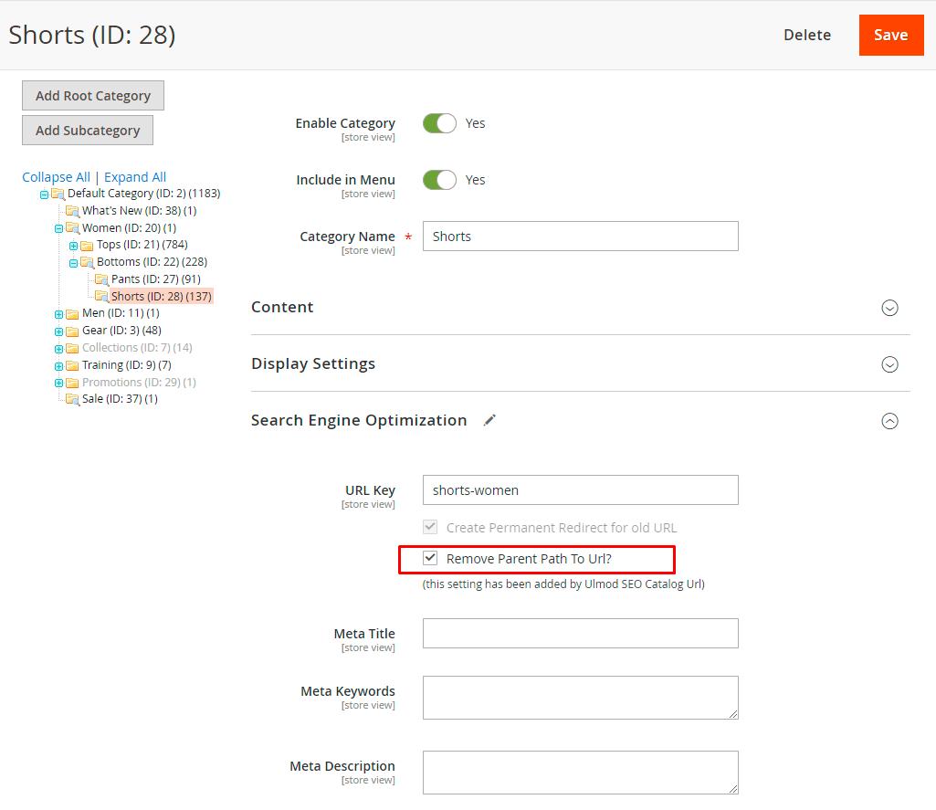 Remove parent categories path settings