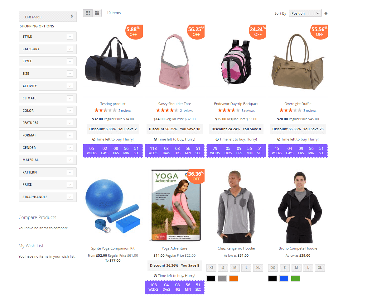 More products at the sale category page