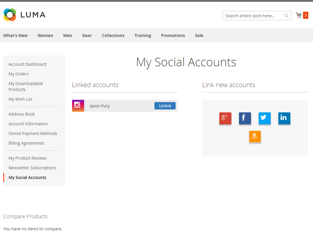 Link and unlink social account
