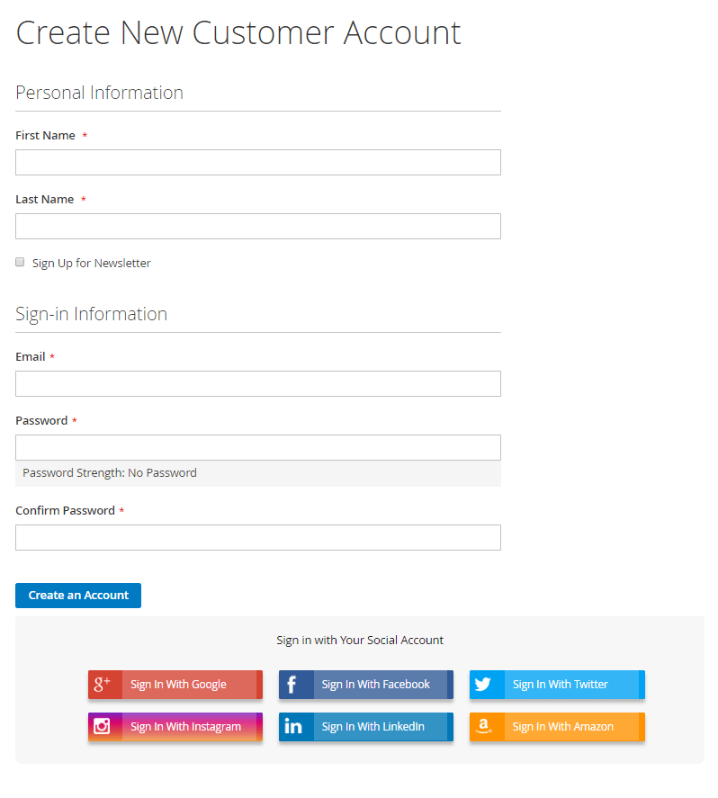 Social network on account register page