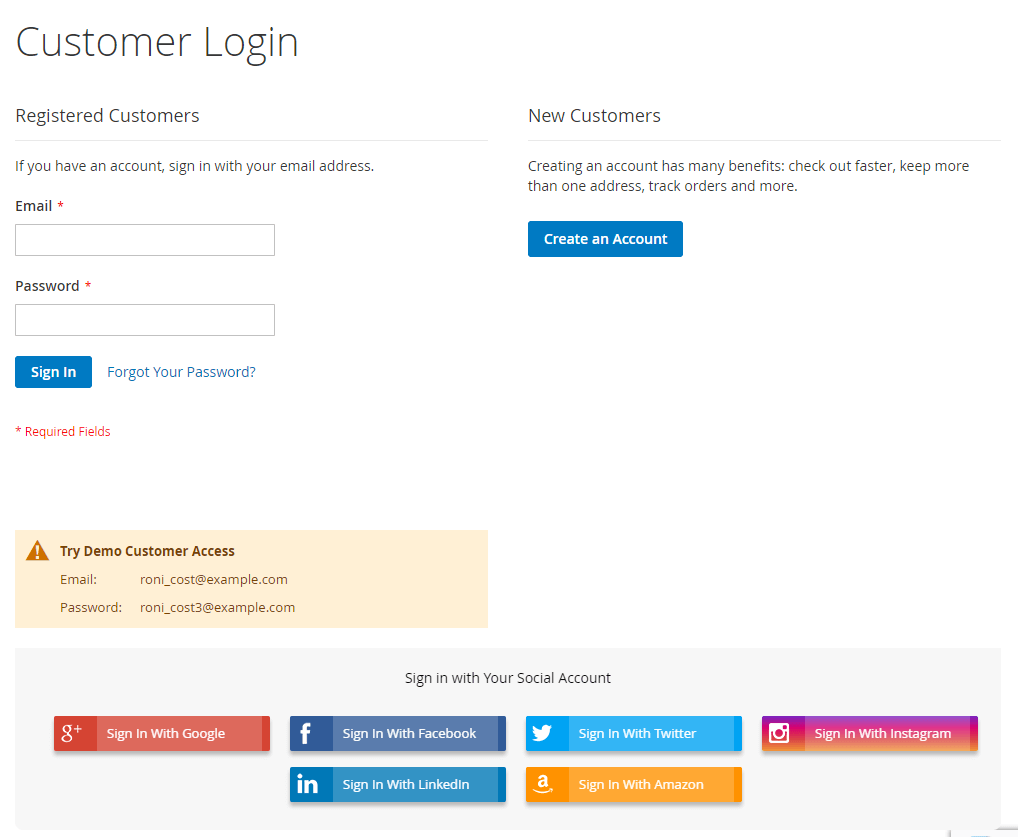 Social network on account  login page