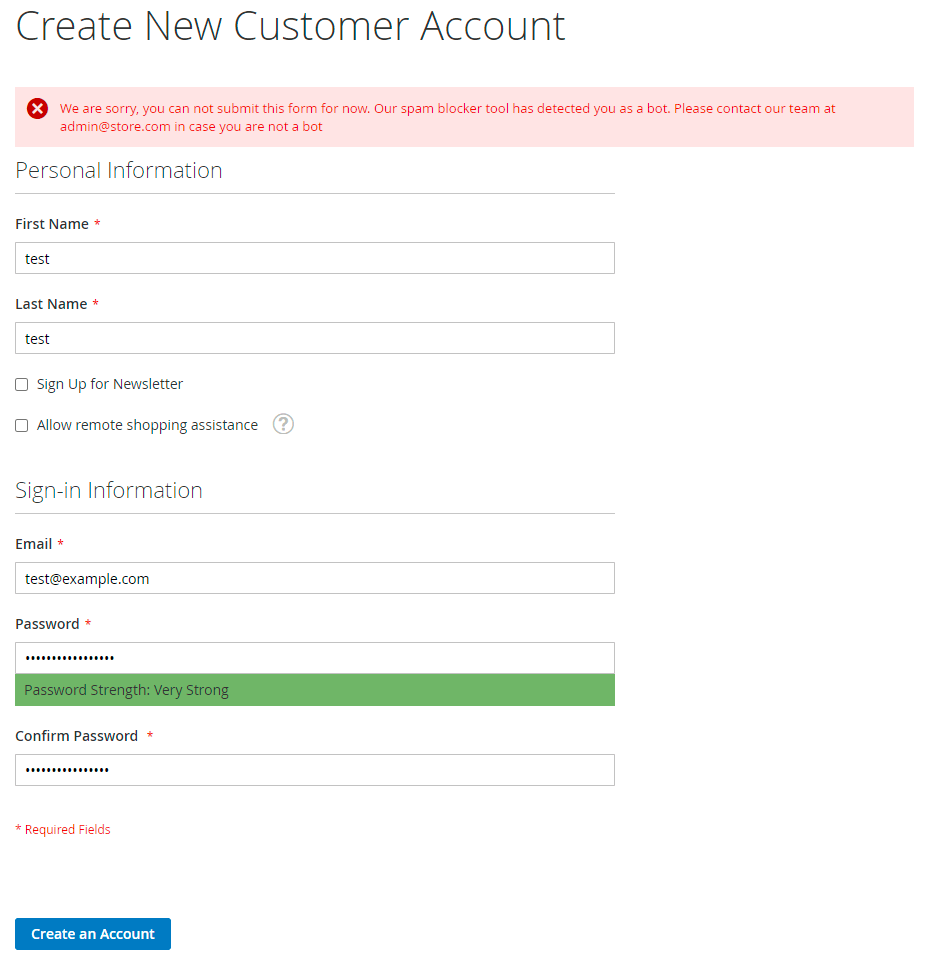 Failed account creations by spambots