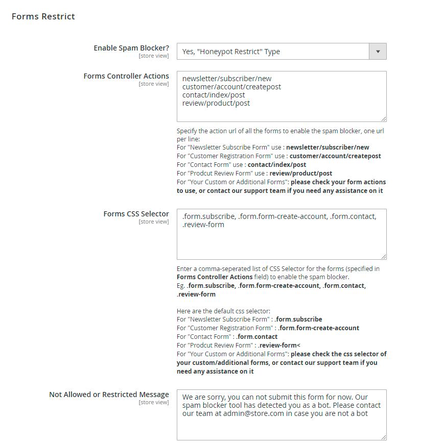 Honeypot restrict settings