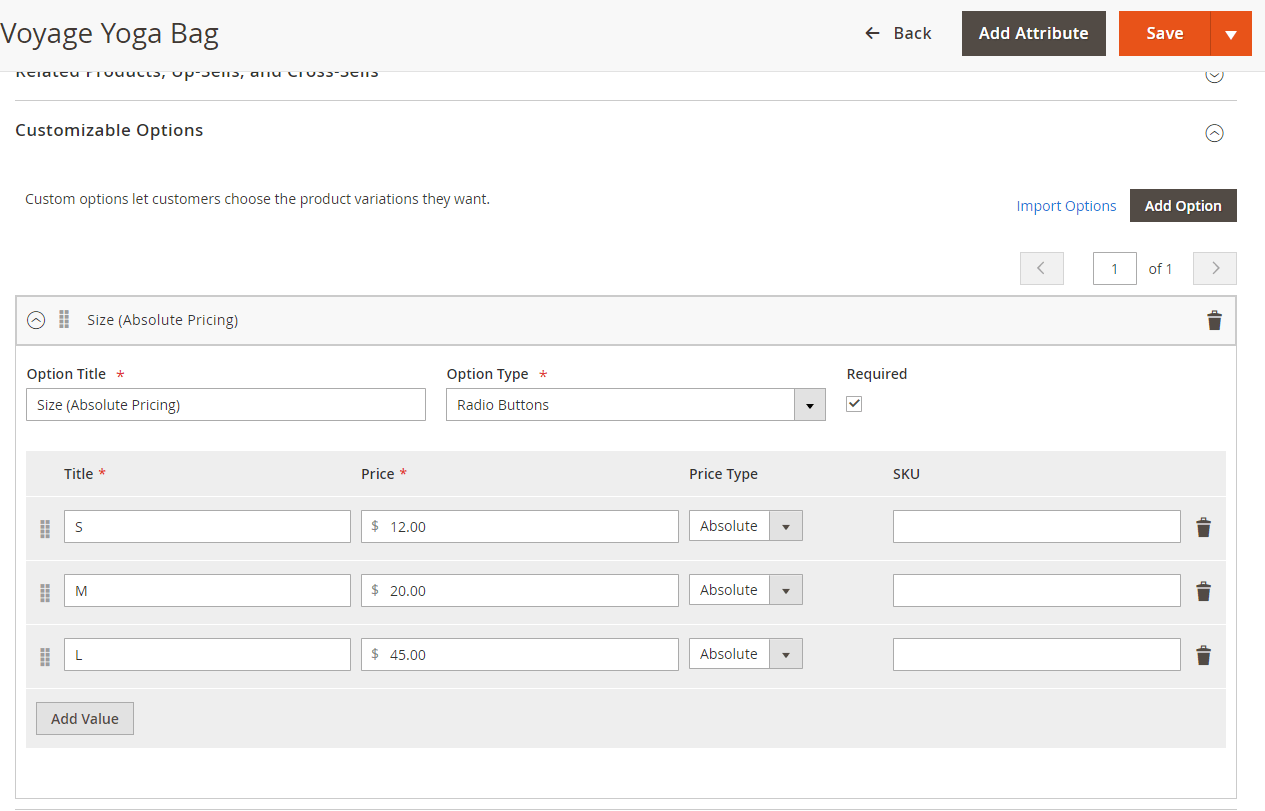 Configure absolute price options