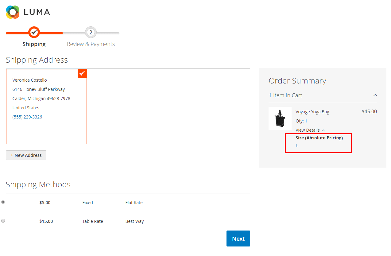 Absolute price options appear at the checkoutpage