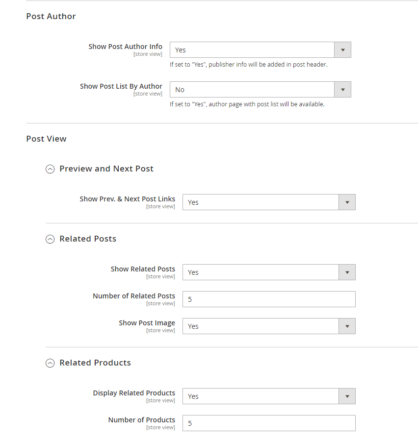 Post author and view settings