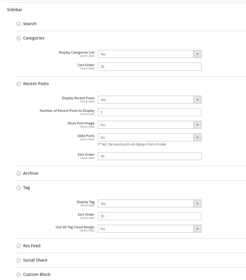 Sidebar settings