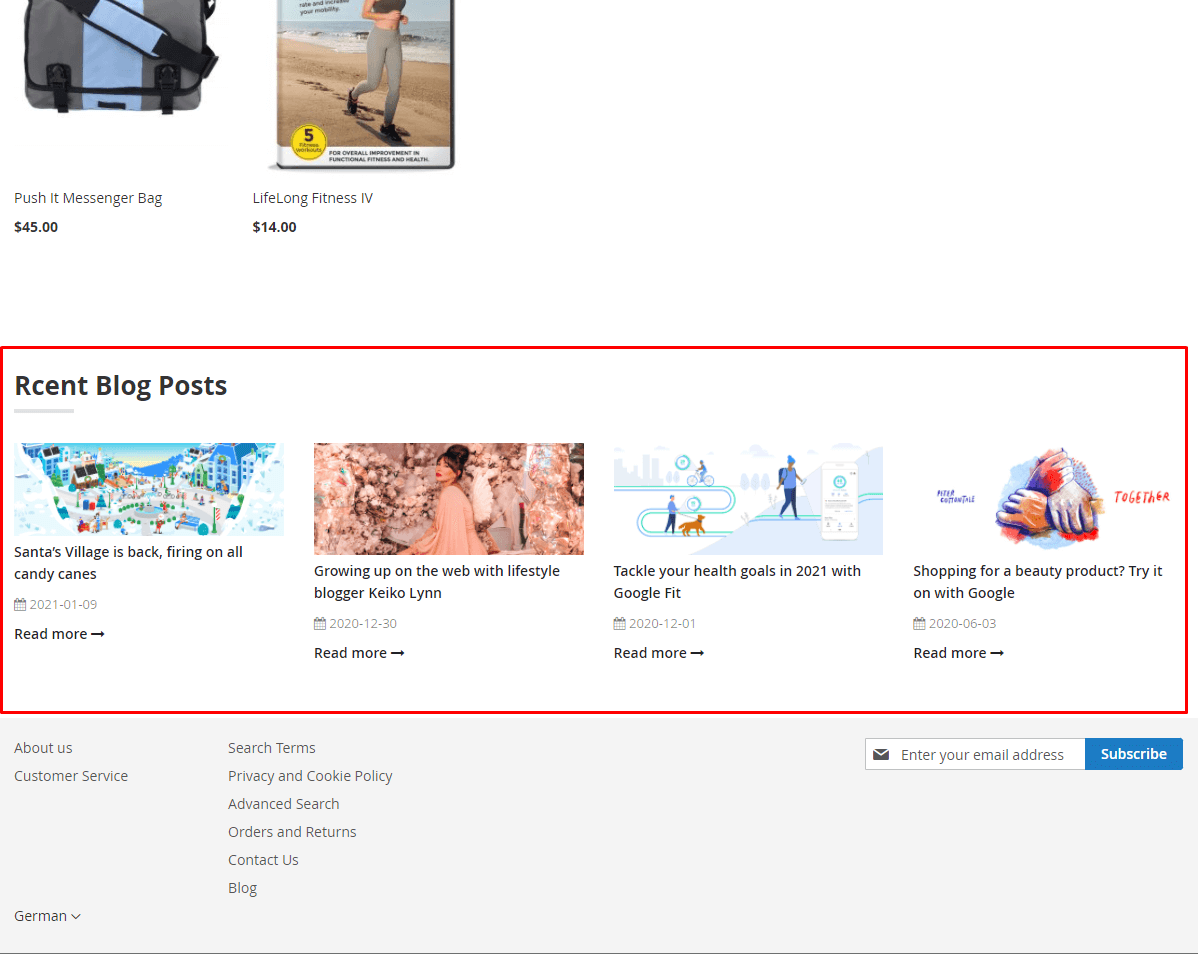 Recent posts widget