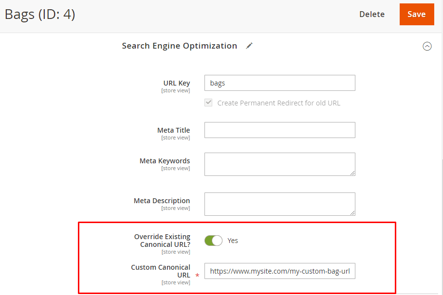 Custom canonical URL per category