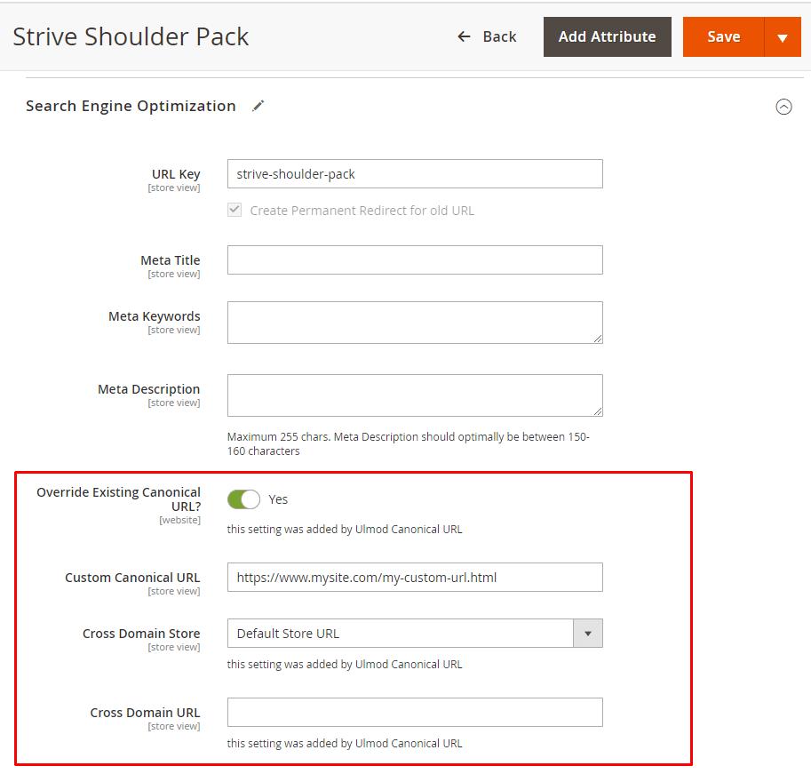 Custom canonical and cross-domain URL per product