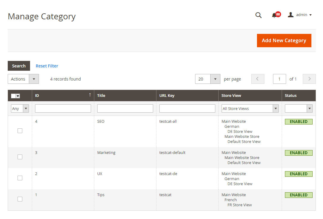Manage categories