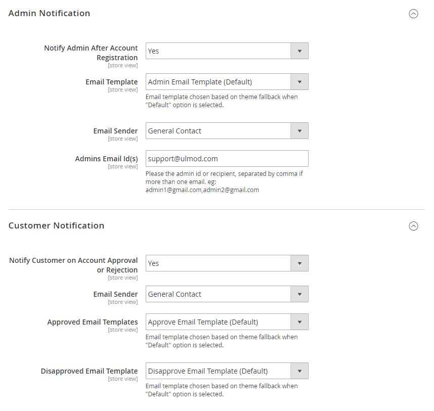 Admin and customer notifications settings