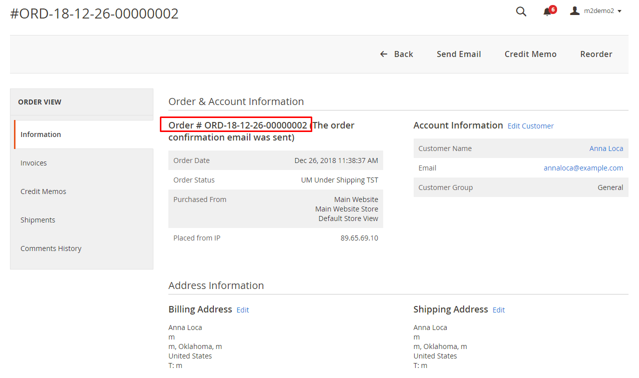 Custom order number at order view page