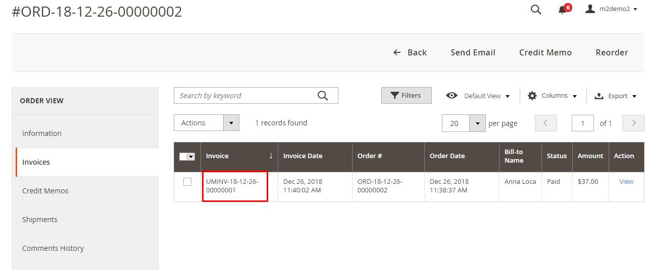 Custom invoice number