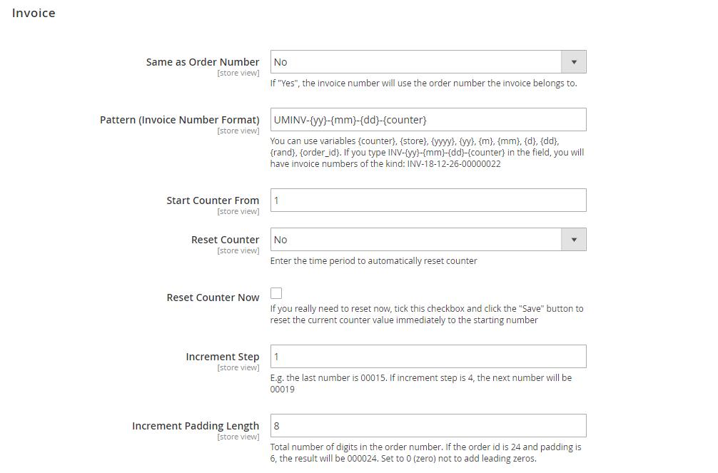Invoice settings