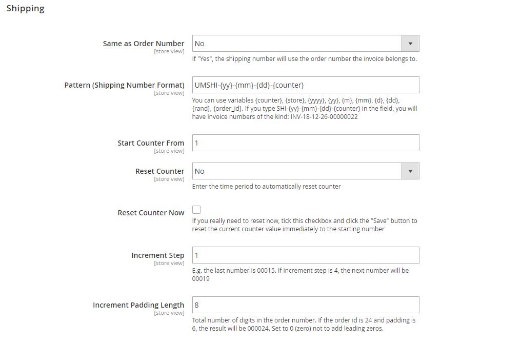 Shipping settings