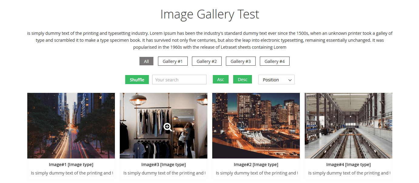 Gallery with filters