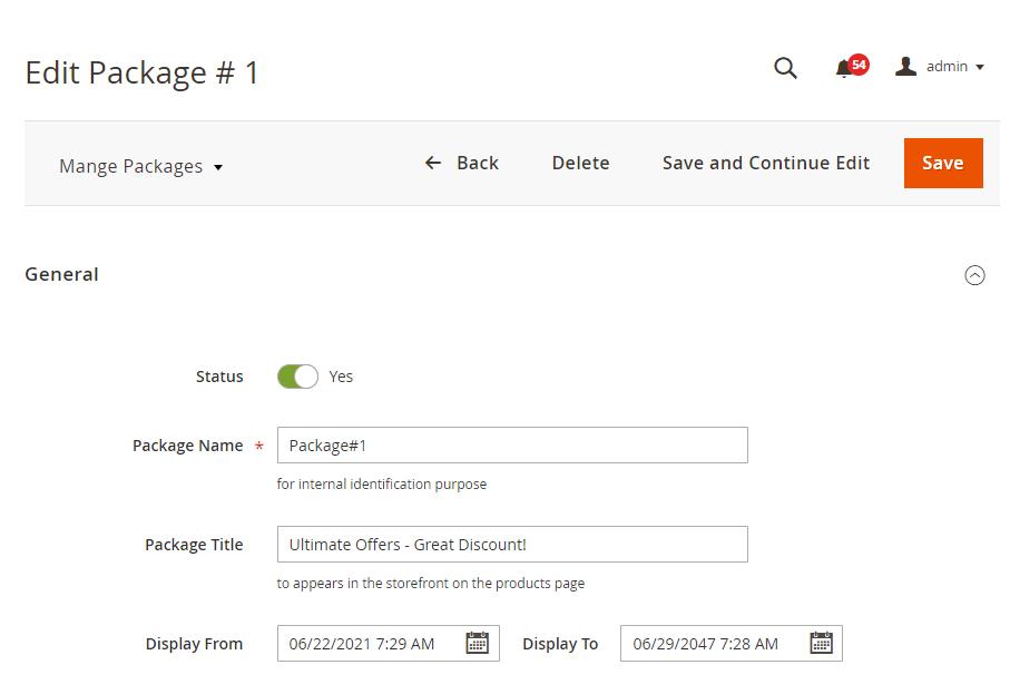 Package general settings