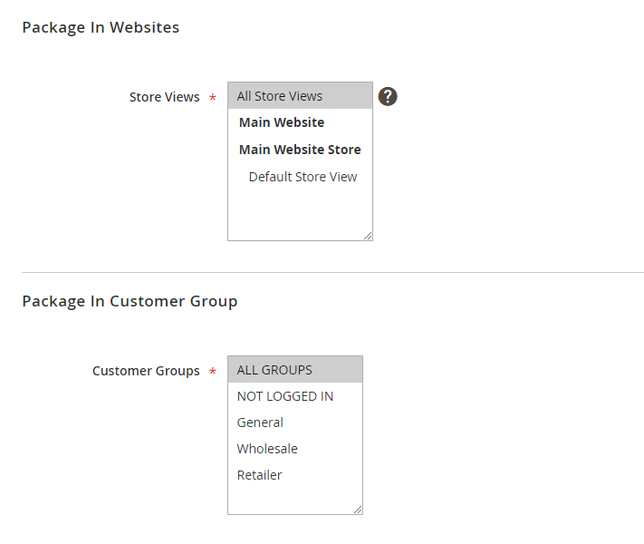 Package restrictions settings