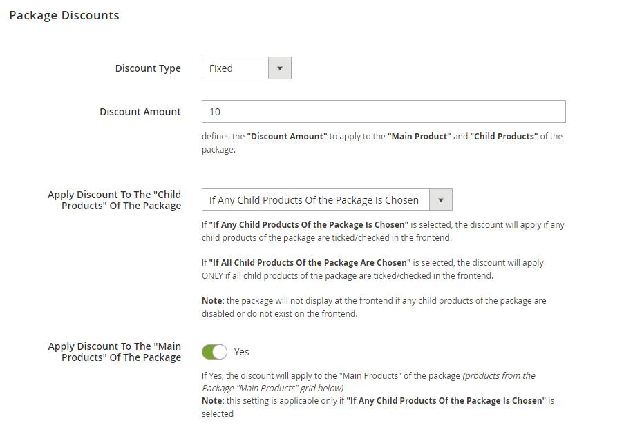 Package discounts settings