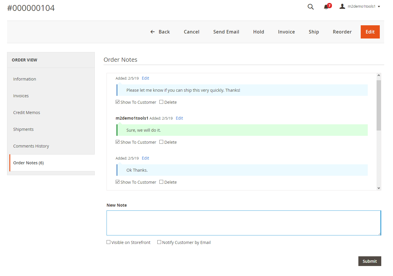 Order notes at the admin order view page
