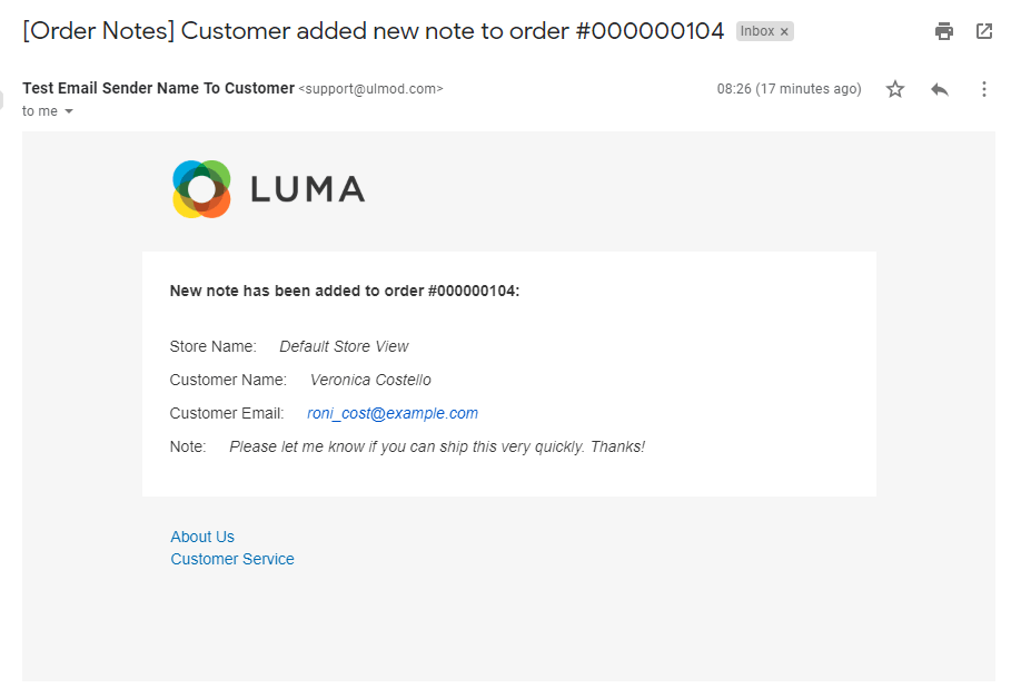 New customer note email to admin
