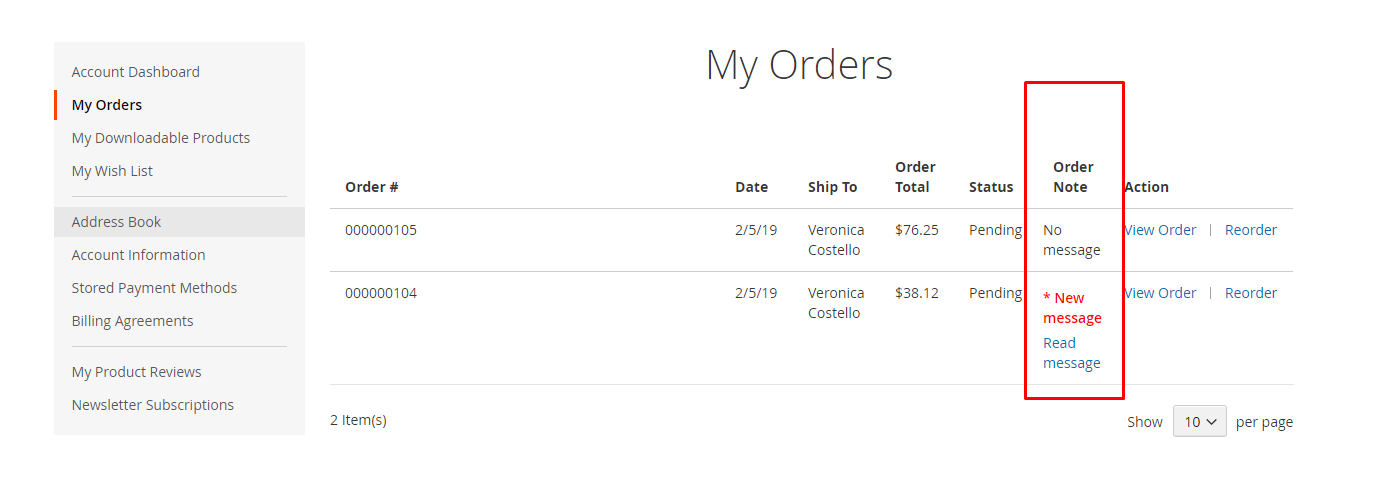 New admin note appear highlighted at my orders
