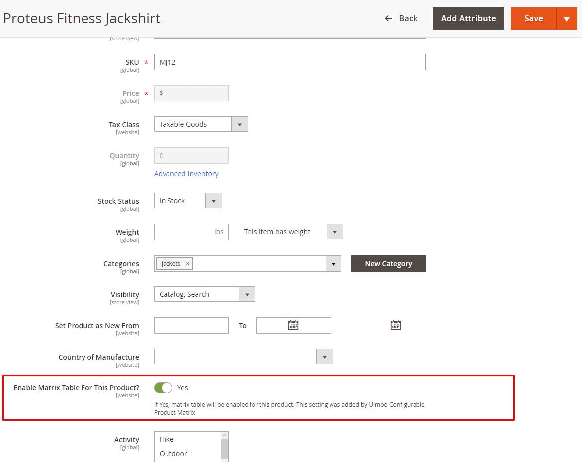 Configure per specific product