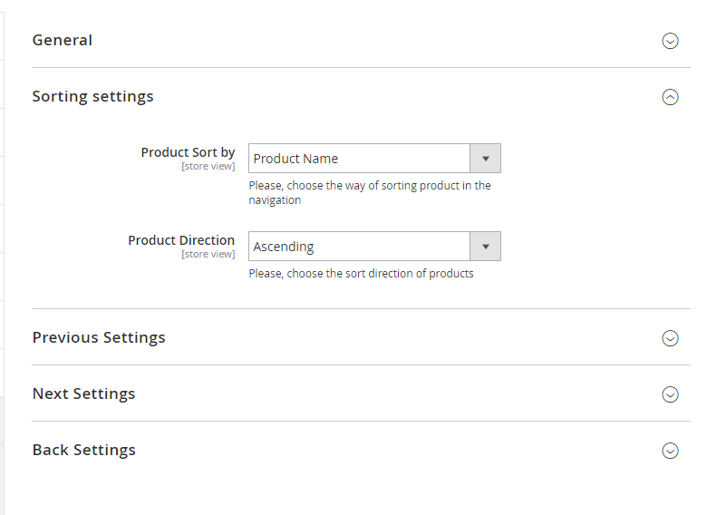 Sorting settings