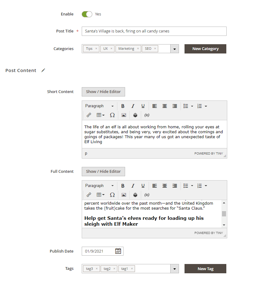 Post content and tags settings