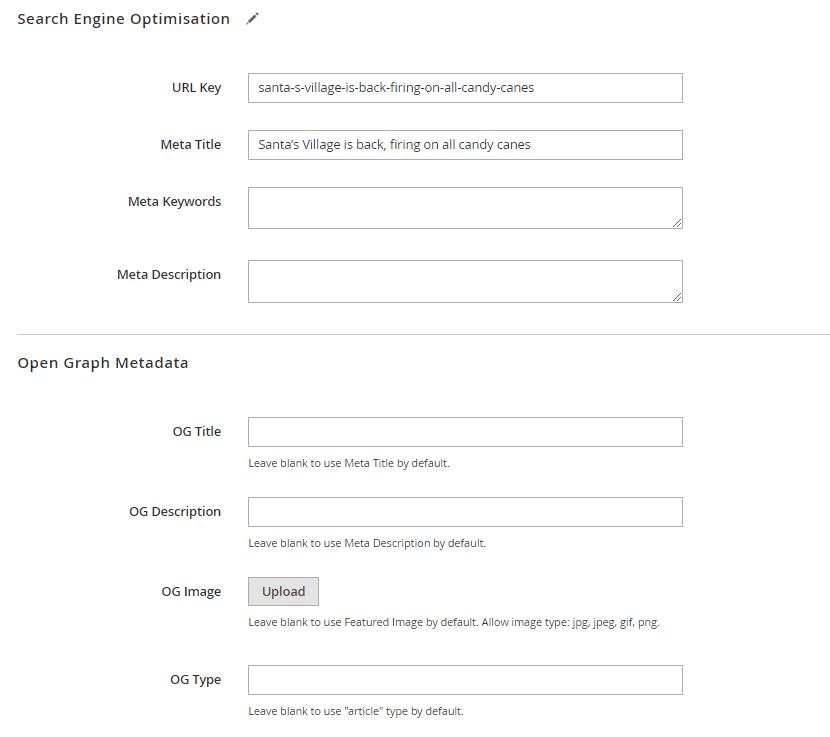 Post SEO and OG settings