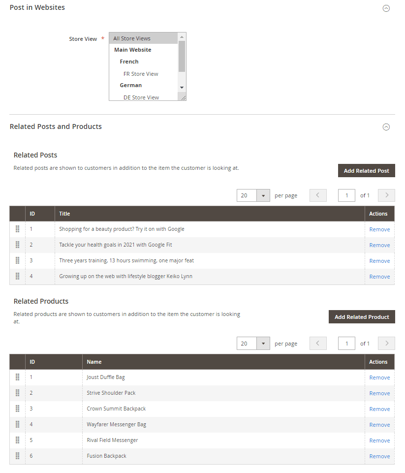 Post store view, related posts and product settings