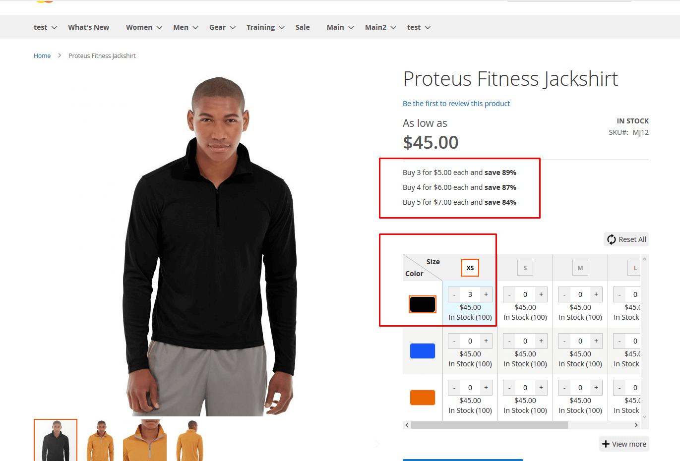 Default tier price display
