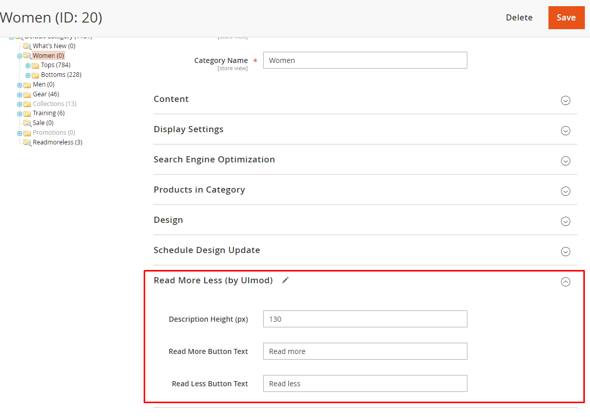 Configure per specific category