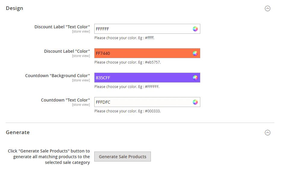 Design and generate settings