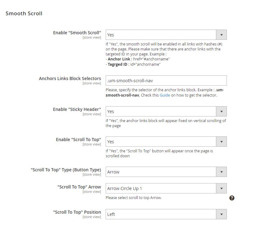 Smooth scroll settings