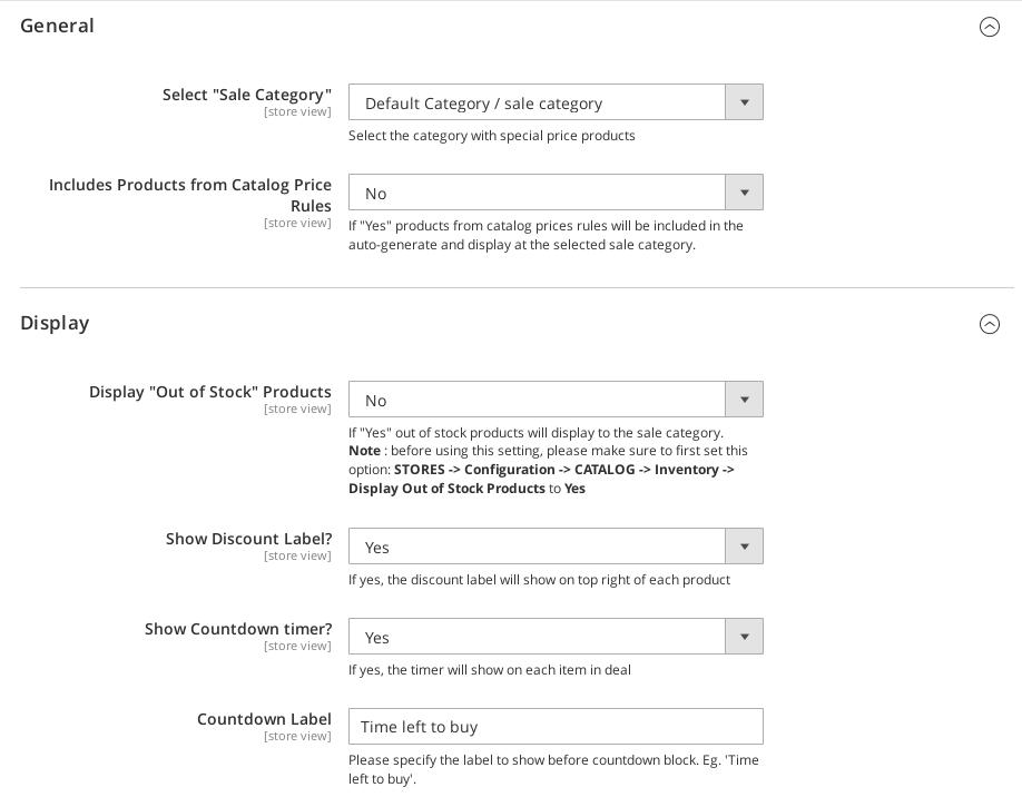 General and display settings