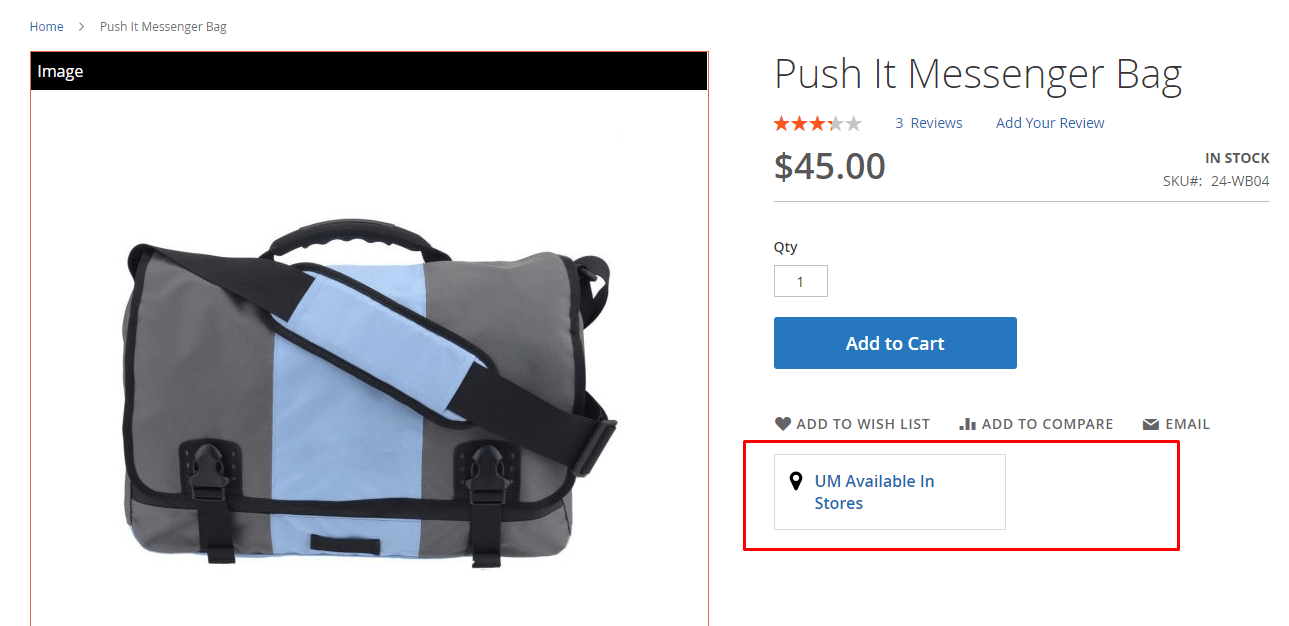 Location link at the product page