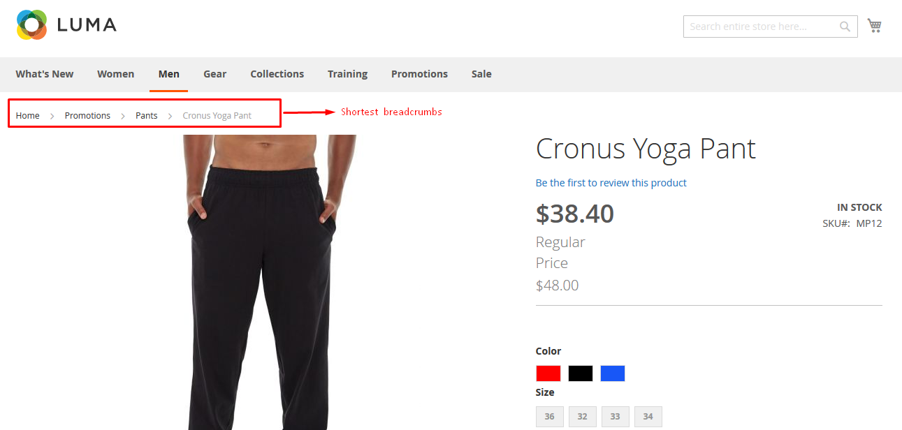 Shortest breadcrumbs on product page